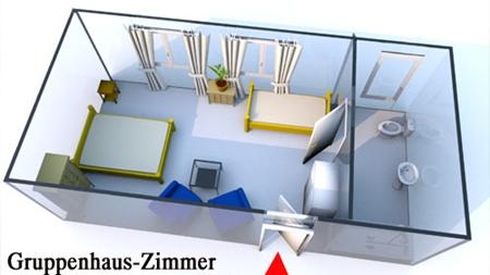 Grundriss der Gruppenhaus Zimmer für 2 Personen in der Lüneburger Heide